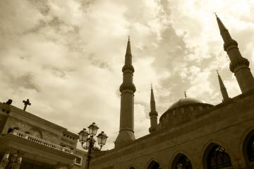 a church and a mosque in beirut lebanon