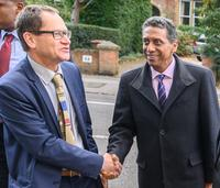 prof roger goodman warden of st antonys college welcomes president faure of seychelles